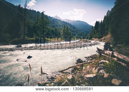Mountain River and forest Landscape beautiful scenic view wild nature summer travel