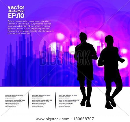 Sport vector illustration. Marathon runners