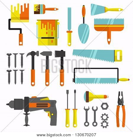 House repair tool colorful flat vector set.