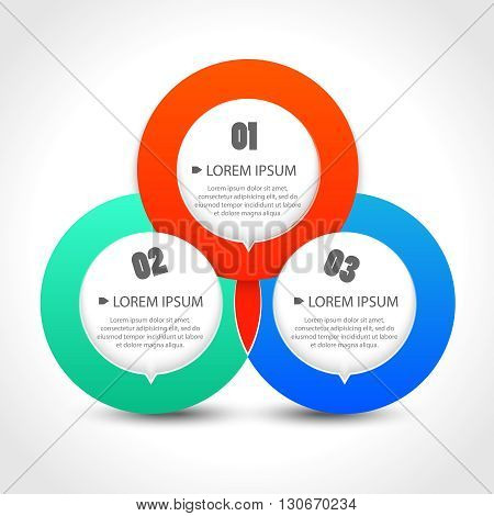 Infographics template with with three circular banners. Vector illustration