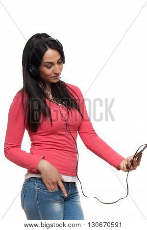 Indian Lady With Headphones, Indian Girl With Ear Plugs And Mobile Phone, Indian Girl Enjoying Music