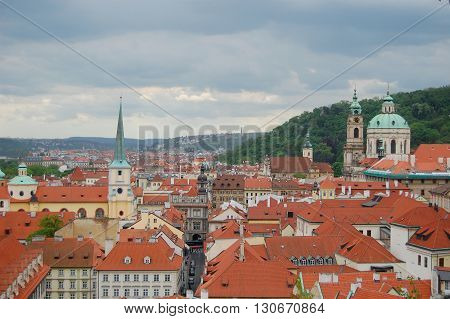 Prague cityscape. Czech Republic. St. Thomas Church. St.Nicholas Church