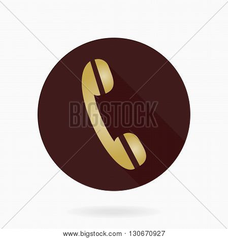 Fine vector telephone golden receiver in the brown circle. Flat design with long shadow