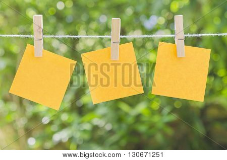 Paper note with peg on green background