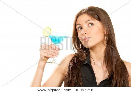 Brunette Woman Holding Popular Blue Tropical Martini Cocktail