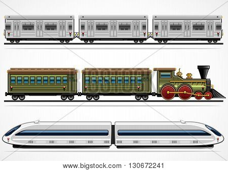 Set of three railway transport from different ages