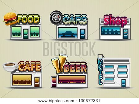 SIx cartoony buildings: food, cars, shop, cafe, beer, motel