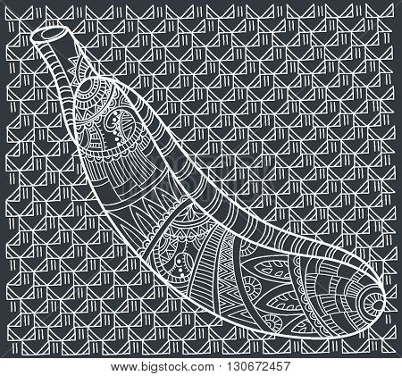 Banana on black background. Beautiful vector illustration. Hand-drawn zentangle tribal design element. Coloring book page for adult. Vector