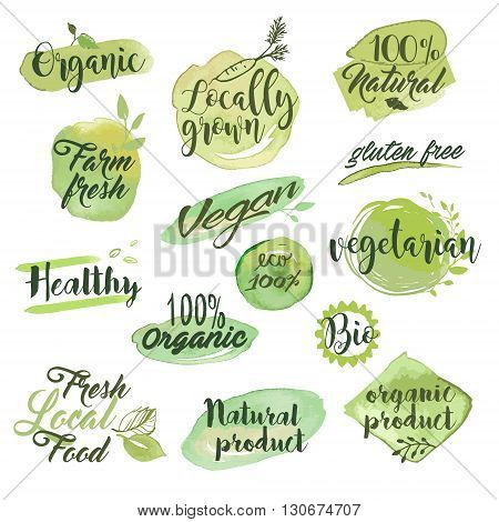 Hand drawn watercolor labels and badges for organic food, restaurant and natural products. Vector illustration set for graphic and web design.