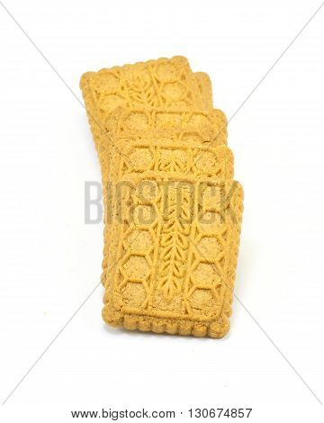 Assorted shape biscuit cookies variety on white background