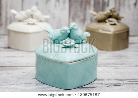 Porcelain Boxes With Birds And Flowers