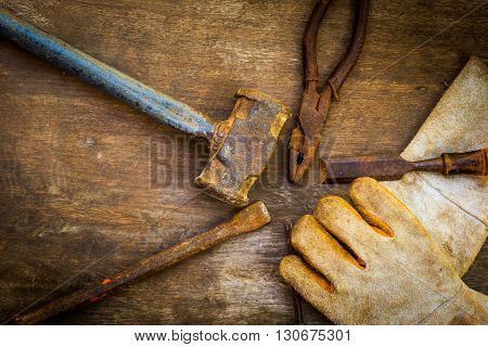 Still life with dirty tools on hard work