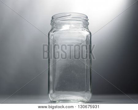 empty jar on the gray background