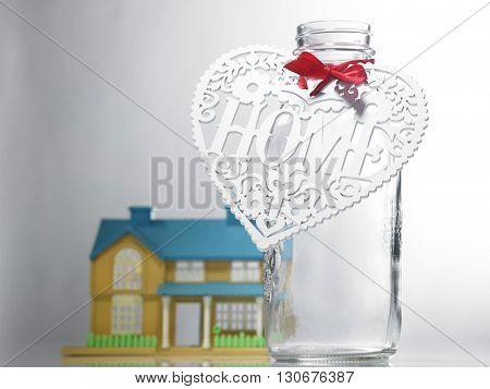 saving jar tied with hand made heart shape