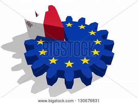 European union flag on gear and Malta as part of cog wheel. 3D rendering