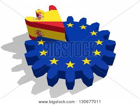 European union flag on gear and Spain as part of cog wheel. 3D rendering