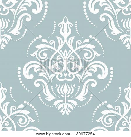 Oriental vector classic pattern. Seamless abstract background with repeating elements. Light blue and white pattern