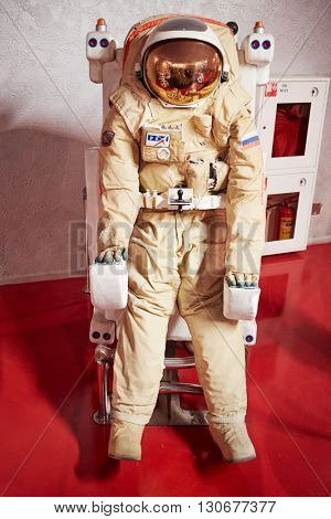 MOSCOW, RUSSIA - JAN 7, 2015: The spacesuit for spacewalk in The Museum of Cosmonautics.