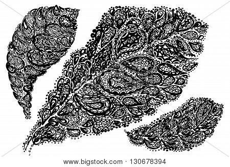 Croton Leaf Illustration In Paisley Style.
