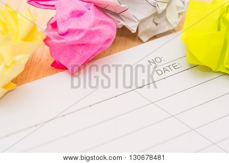 Writers Block. Paper Lump. On Wooden Background