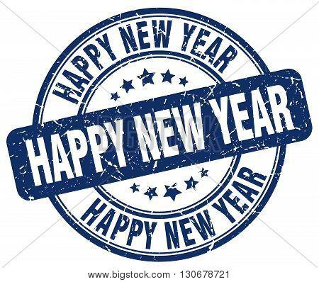 happy new year blue grunge round vintage rubber stamp