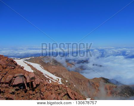 Sweeping view from Pike's Peak above the clouds.