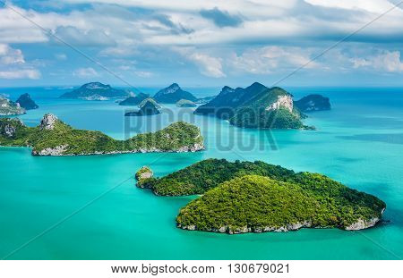 Tropical Group Of Islands In Ang Thong National Marine Park. Top View