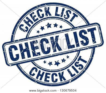 check list blue grunge round vintage rubber stamp