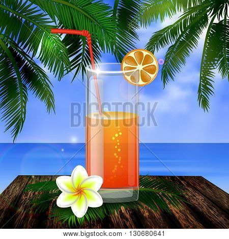tropical vector background with leaves of palm trees summer sky  clouds exotic beverage and fruit on wooden deck