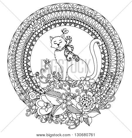 Vector illustration Zen Tangle cat in round frame. Doodle flowers mandala. Coloring book anti stress for adults. Black and white.