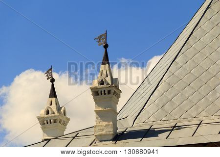 These are vintage chimneys on the buildings of the 17th century the Vologda Kremlin.