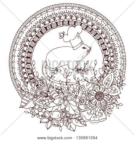 Vector illustration Zen Tangle Mouse cook in a round floral frame. Mandala kitchen doodle flowers. Coloring book anti stress for adults. Brown and white.