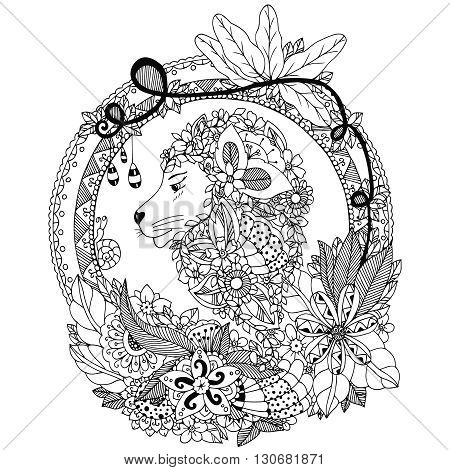 Vector illustration Zen Tangle lion in a circular floral frame. Doodle flowers portrait. Coloring book anti stress. Black and white.