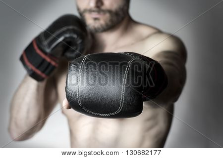 close - up of boxer black glove