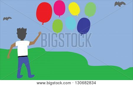 Vector Illustration Boy and Baloon in the outdoor