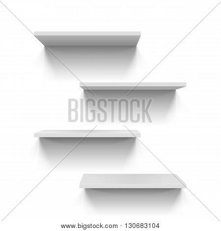Horizontal gray bookshelves on the white wall