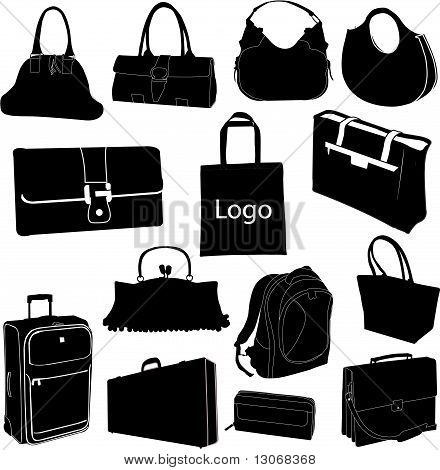 set of different bags - vector