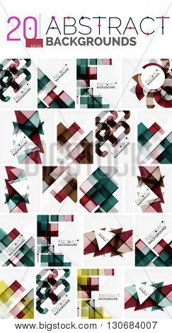 Collection of abstract backgrounds - repetition of multicolored transparent squares and swirl lines, geometric pattern set.