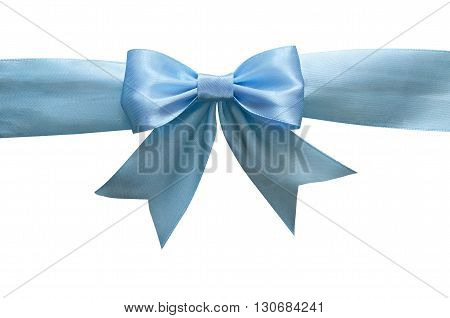 Blue silk ribbon and bow isolated on white