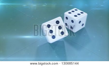 3D Rendering of two white dices with a black dotes closeup with a green background