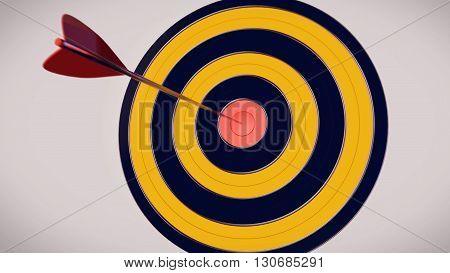 3D Rendering. Red dart arrow hitting in the target center of dartboard with a white background