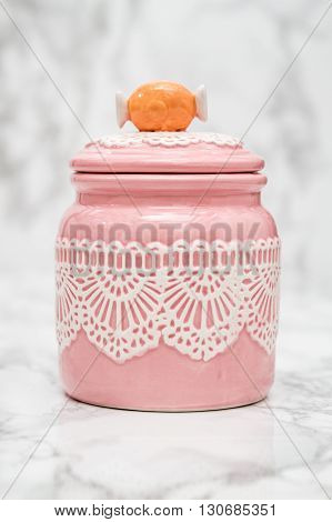 Pink Round Porcelain Jar With Lace Pattern