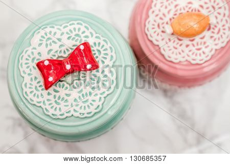 Colorful Ceramic Round Jars With Lace Patterns