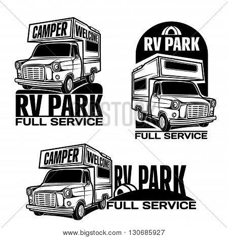 car rv camper caravan bus logo emblem set