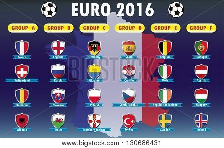 France 2016 football icons flags of the participating countries france map on background vector illustration