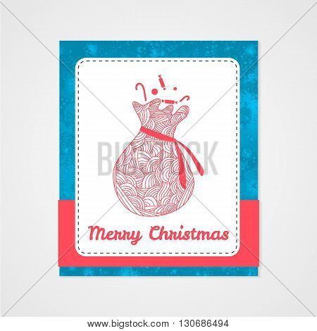 Santas sack with candy and abstract doodle pattern. Christmas collection. Vector illustration