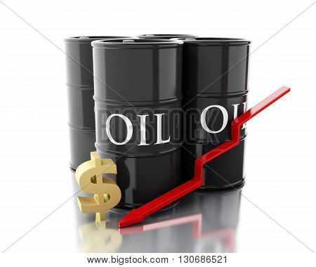 3d renderer image. Four barrels of oil. Business concept. Isolated white background.