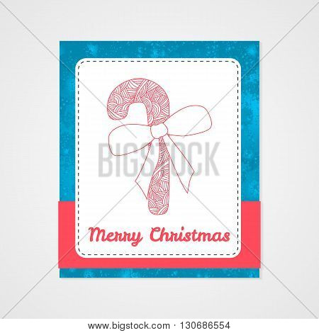 New year candy cane with bow and abstract doodle pattern. Christmas collection. Vector illustration.