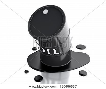 3d renderer image. One barrel of oil spilled. Isolated white background.