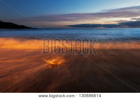 Tropical beach with volcanic sand after sunset in light of the lanterns on the shore Tenerife, Canary Islands, Spain